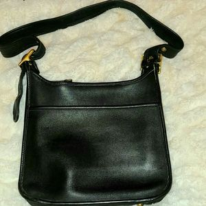 VINTAGE COACH LEGACY ZIP BLACK LEATHER BAG E+UC